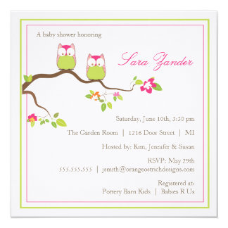 "Baby Shower Invitation - Twin Girl Baby Owls 5.25"" Square Invitation Card"