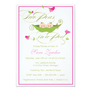 Twins baby shower invitations announcements zazzle baby shower invitation twin girls pea in a pod filmwisefo