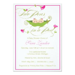 Baby Shower Invitation - Twin Girls Pea in a Pod at Zazzle