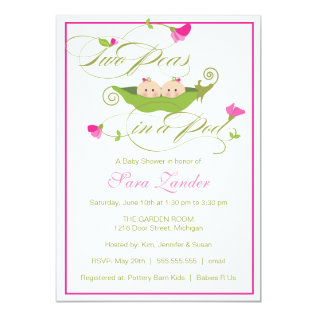 Baby Shower Invitation - Twin Girls Pea In A Pod at Zazzle
