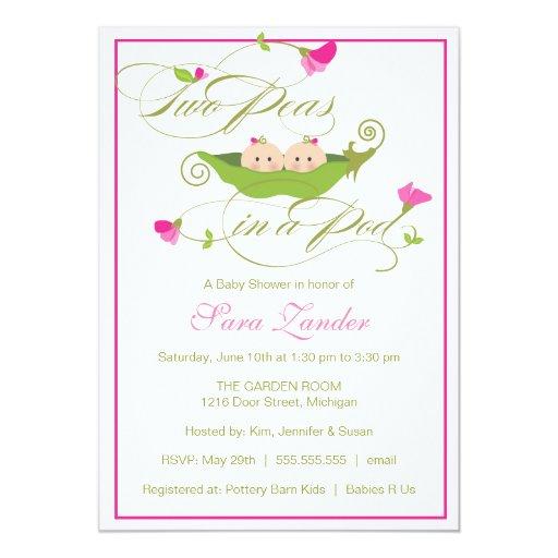 Baby Shower Invitation - Twin Girls Pea in a Pod   Zazzle