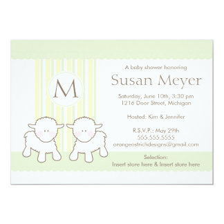 "Baby Shower Invitation - Twins 5"" X 7"" Invitation Card"