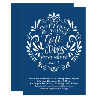 Baby Shower Invitation, Typography Scripture, Blue Card