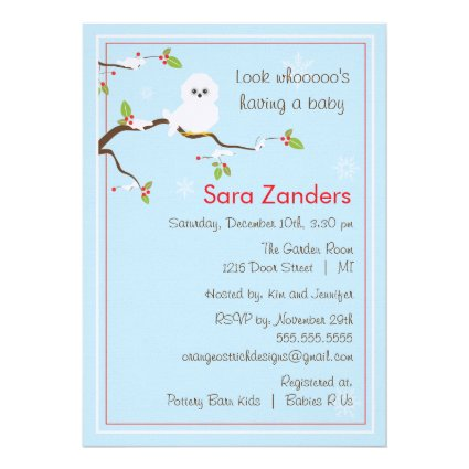 Baby Shower Invitation - Winter Baby Owl