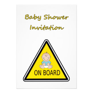 Baby Shower Invitation with baby boy on board