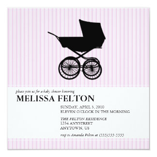 Baby Shower Invitation with Baby Buggy