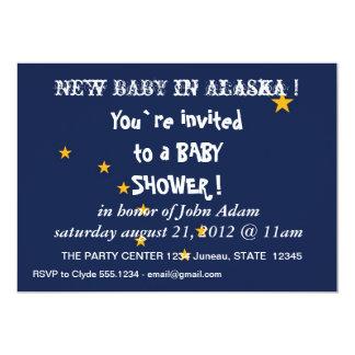 Baby Shower Invitation with Flag of Alaska,U.S.A.
