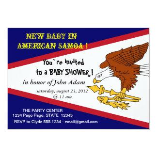 "Baby Shower Invitation with Flag of American Samoa 5"" X 7"" Invitation Card"