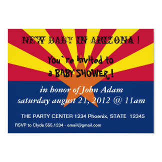 Baby Shower Invitation with Flag of Arizona,U.S.A.