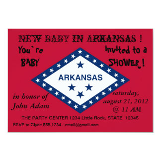 Baby Shower Invitation with Flag of Arkansas