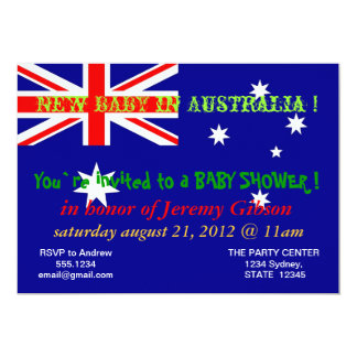Baby Shower Invitation with Flag of Australia