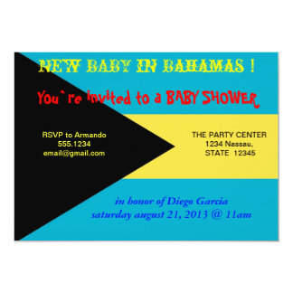 Baby Shower Invitation with Flag of Bahamas