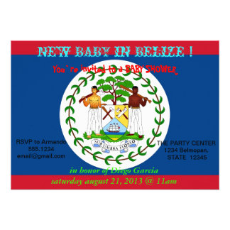 Baby Shower Invitation with Flag of Belize