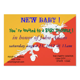 Baby Shower Invitation with Flag of Bhutan