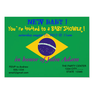 Baby Shower Invitation with Flag of Brazil