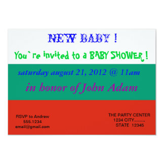 Baby Shower Invitation with Flag of Bulgaria