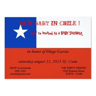 Baby Shower Invitation with Flag of Chile