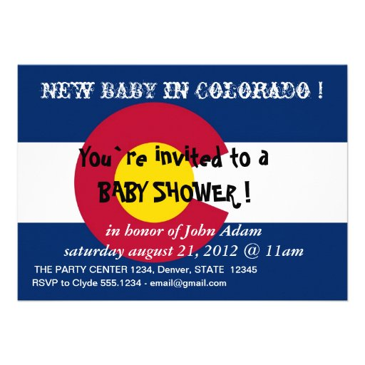 Baby Shower Invitation with Flag of Colorado