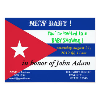 Baby Shower Invitation with Flag of Cuba