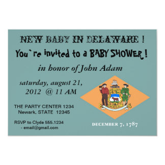 Baby Shower Invitation with Flag of Delaware