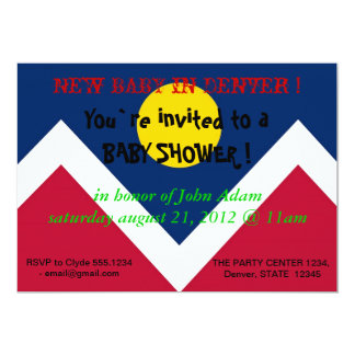 Baby Shower Invitation with Flag of Denver City