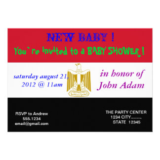 Baby Shower Invitation with Flag of Egypt