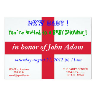 "Baby Shower Invitation with Flag of England 5"" X 7"" Invitation Card"