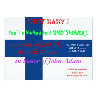 Baby Shower Invitation with Flag of Finland