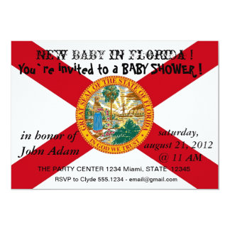 "Baby Shower Invitation with Flag of Florida 5"" X 7"" Invitation Card"