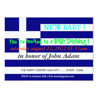 Baby Shower Invitation with Flag of Greece