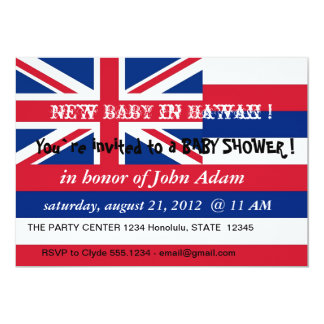 Baby Shower Invitation with Flag of Hawaii