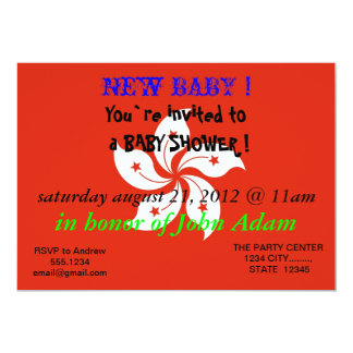 Baby Shower Invitation with Flag of Hong Kong