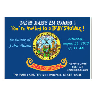 Baby Shower Invitation with Flag of Idaho
