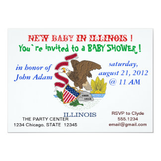 Baby Shower Invitation with Flag of Illinois