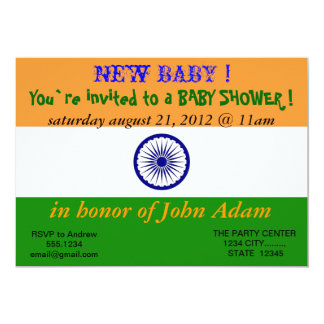 Baby Shower Invitation with Flag of India