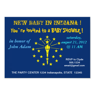 Baby Shower Invitation with Flag of Indiana