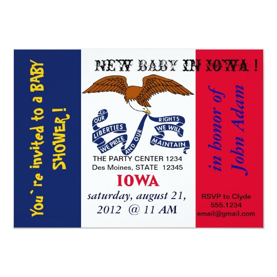 Baby Shower Invitation with Flag of Iowa