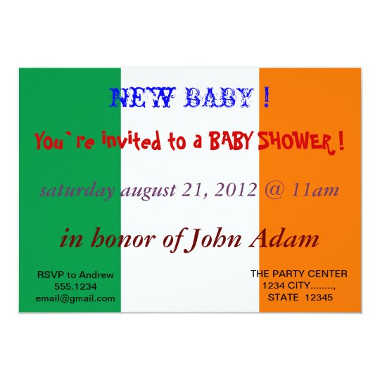 Baby Shower Invitation with Flag of Ireland