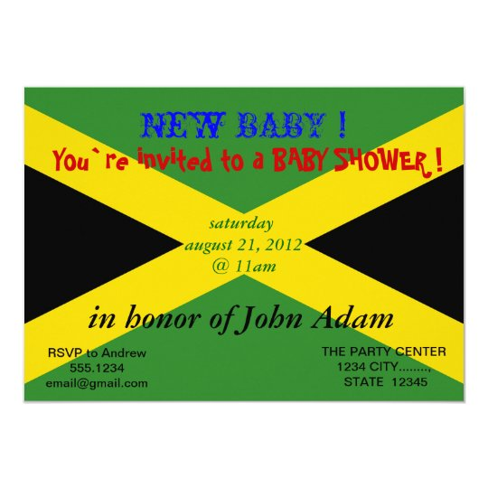Baby Shower Invitation with Flag of Jamaica – Jamaican Party Invitations