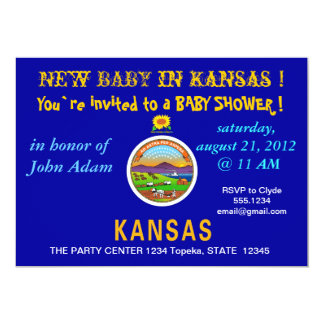 Baby Shower Invitation with Flag of Kansas