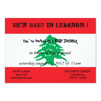 Baby Shower Invitation with Flag of Lebanon