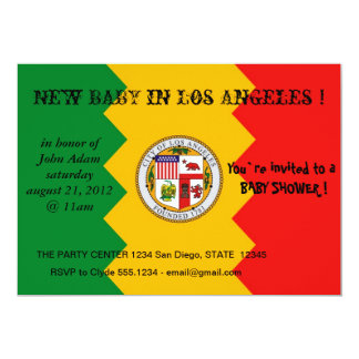 "Baby Shower Invitation with Flag of Los Angeles 5"" X 7"" Invitation Card"