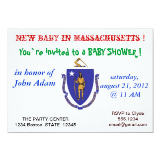 "Baby Shower Invitation with Flag of Massachusetts 5"" X 7"" Invitation Card"
