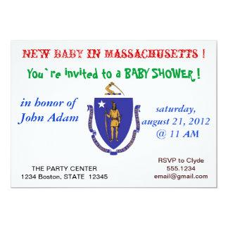 Baby Shower Invitation with Flag of Massachusetts