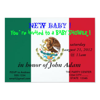 Baby Shower Invitation with Flag of Mexico