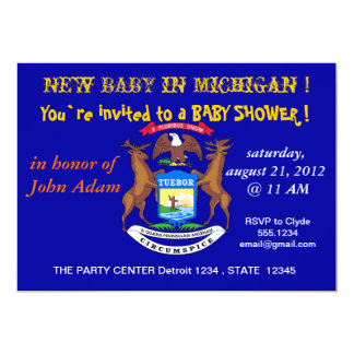 Baby Shower Invitation with Flag of Michigan