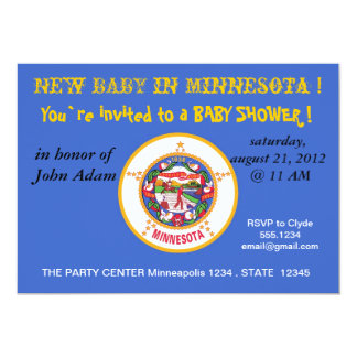 Baby Shower Invitation with Flag of Minnesota