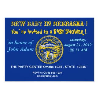 Baby Shower Invitation with Flag of Nebraska