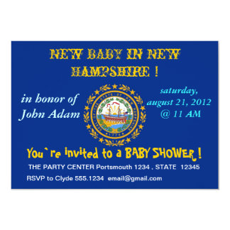 "Baby Shower Invitation with Flag of New Hampshire 5"" X 7"" Invitation Card"