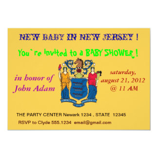 Baby Shower Invitation with Flag of New Jersey